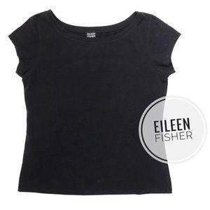 Eileen Fisher Solid Navy Cap Sleeve Tee [S]